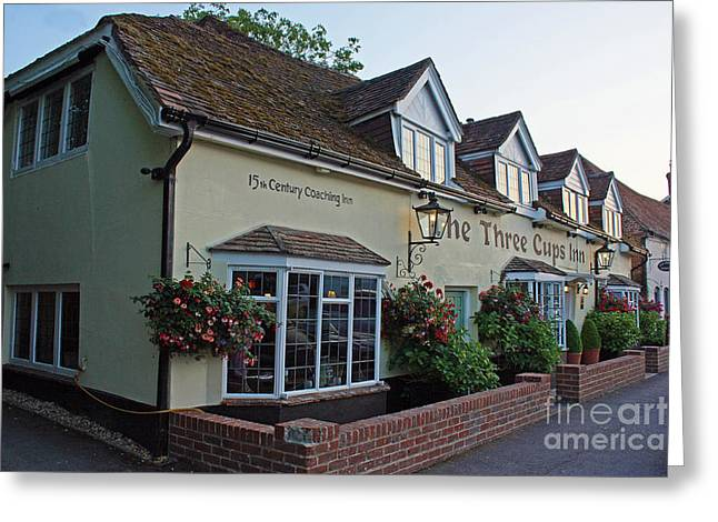 Terri Waters Greeting Cards - The Three Cups Inn Stockbridge Greeting Card by Terri  Waters