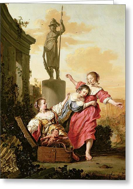 Mother Earth Greeting Cards - The Three Daughters Of Cecrops Discovering Erichthonius Greeting Card by Salomon de Bray