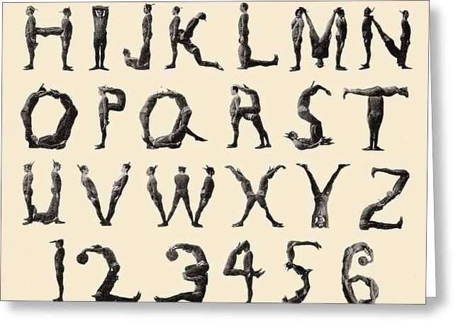 The Three Delevines Satanic Gambols Human Alphabet. The Three Delevines Were An 1897 Music Hall Greeting Card by English School