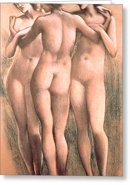 Full-length Portrait Greeting Cards - The Three Graces, C.1885, Pastel Greeting Card by Sir Edward Coley Burne-Jones