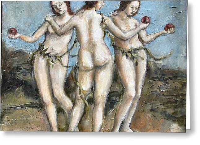 Carrie Joy Byrnes Greeting Cards - The Three Graces Greeting Card by Carrie Joy Byrnes