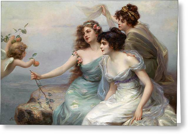 Grey Clouds Digital Art Greeting Cards - The Three Graces Greeting Card by Edouard Bisson