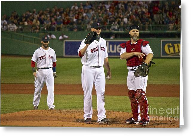 Dustin Pedroia Greeting Cards - The Three Greats Greeting Card by Amazing Jules