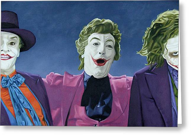 Ledger; Book Paintings Greeting Cards - The Three Jokers Greeting Card by Michael Bridges