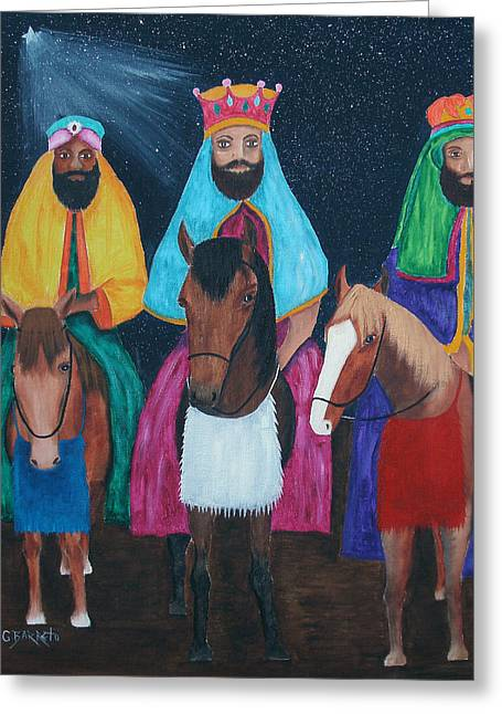 The Three Kings Greeting Card by Gloria E Barreto-Rodriguez