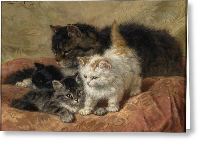 Henriette Greeting Cards - The Three Little Kittens Greeting Card by Henriette Ronner-Knip