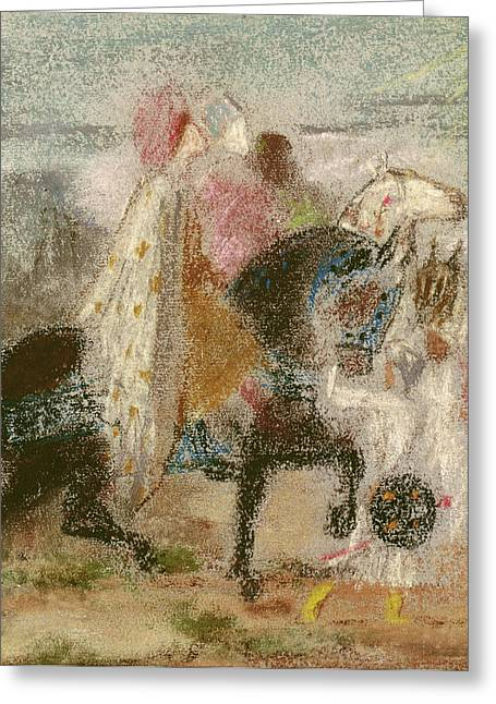Les Greeting Cards - The Three Magi, Started In 1860 And Reworked After 1882 Pastel On Paper Greeting Card by Gustave Moreau