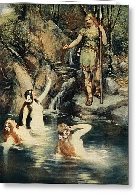 Norse Mythology Greeting Cards - The Three Maidens Swam Close Greeting Card by Ferdinand Leeke