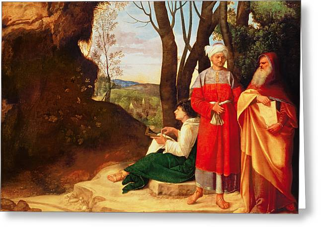 The Three Philosophers Oil On Canvas Greeting Card by Giorgione