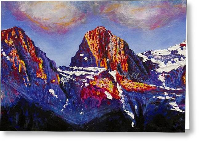 Mound Paintings Greeting Cards - The Three Sisters Canmore Alberta Mountains Greeting Card by Joyce Sherwin