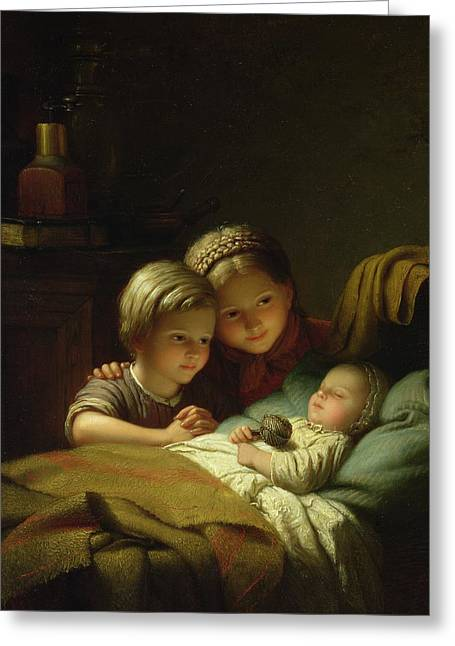 Baby Sister Greeting Cards - The Three Sisters Greeting Card by Johann Georg
