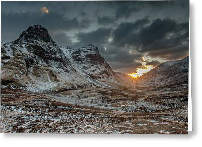 Glencoe Winter Landscape Greeting Cards - The Three Sisters Sunset above Glencoe Greeting Card by Nigel Forster