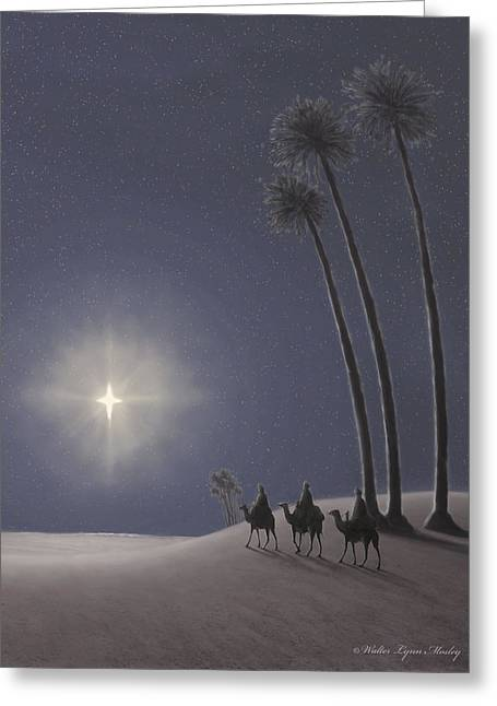 Recently Sold -  - Star Of Bethlehem Greeting Cards - The Three Wise Men Greeting Card by Walter Lynn Mosley