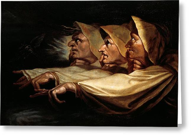 Henry Greeting Cards - The Three Witches Greeting Card by Henry Fuseli