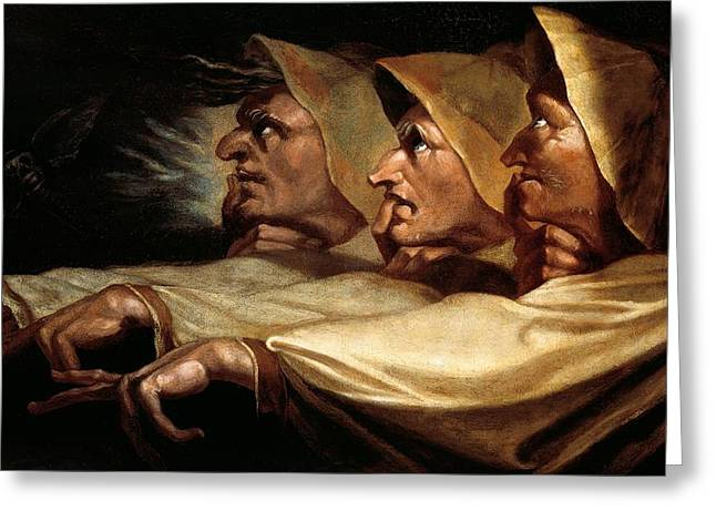 Literature Greeting Cards - The three witches Greeting Card by Johann Heinrich Fussli