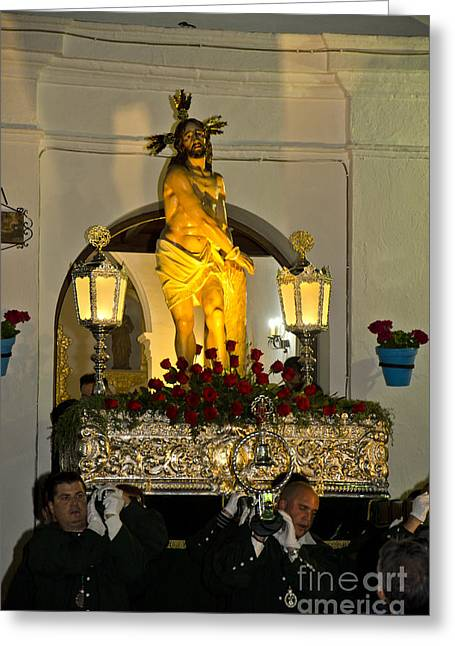 Holy Thursday Greeting Cards - The Throne carried during a procession in Spain Greeting Card by Perry Van Munster