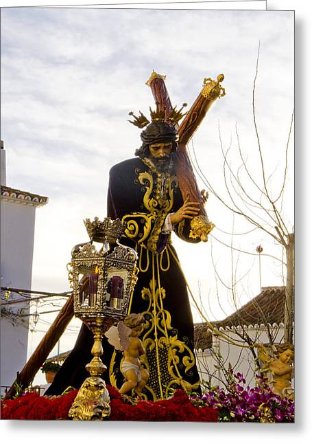 Drum Throne Greeting Cards - The Throne of Christ during Holy week procession in Spain Greeting Card by Perry Van Munster