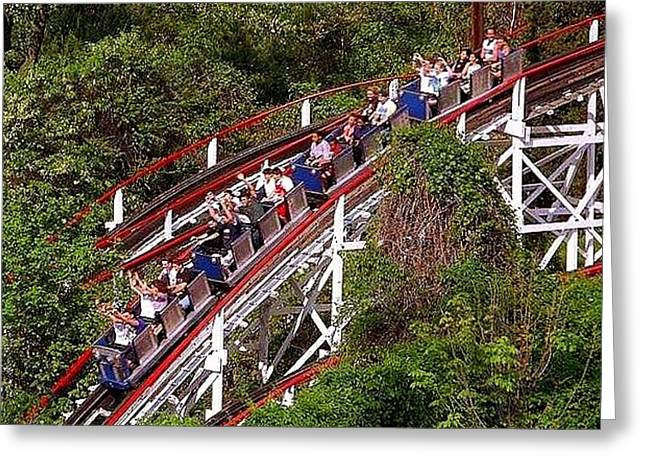 The Thunderbolt Wooden Roller Coaster Greeting Card by Bob Semk