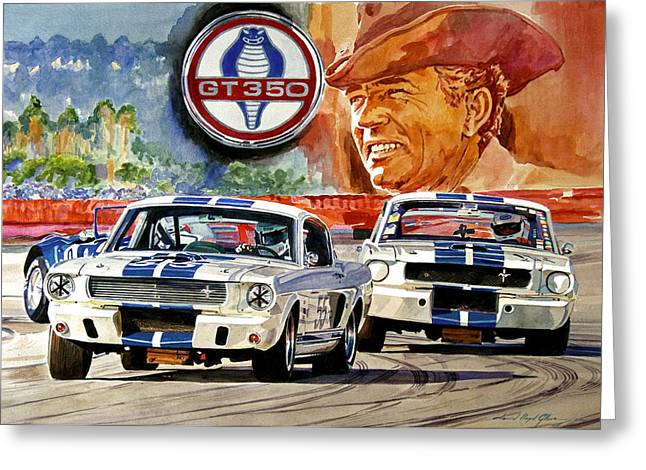Auto-portrait Greeting Cards - The Thundering Blue Stripe GT-350 Greeting Card by David Lloyd Glover