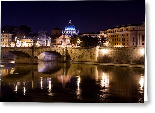 Basilica Di San Pietro Greeting Cards - The Tiber at Night  Greeting Card by Tim  Fitzwater