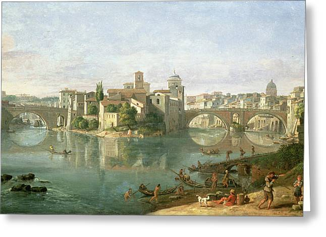 River Scenes Photographs Greeting Cards - The Tiberian Island In Rome, 1685 Greeting Card by Gaspar van Wittel