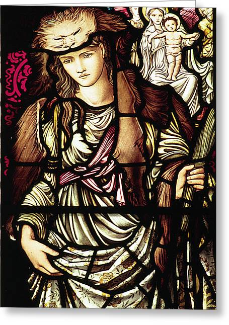 Pre-raphaelites Photographs Greeting Cards - The Tibertine Sibyl in stained glass Greeting Card by Philip Ralley