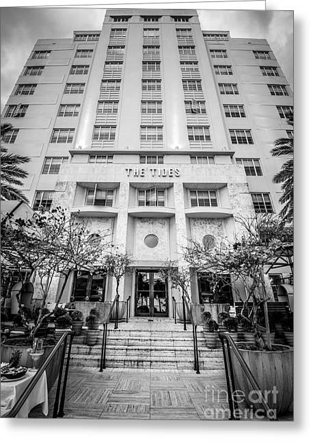 The Tides Art Deco Hotel South Beach Miami - Black And White Greeting Card by Ian Monk