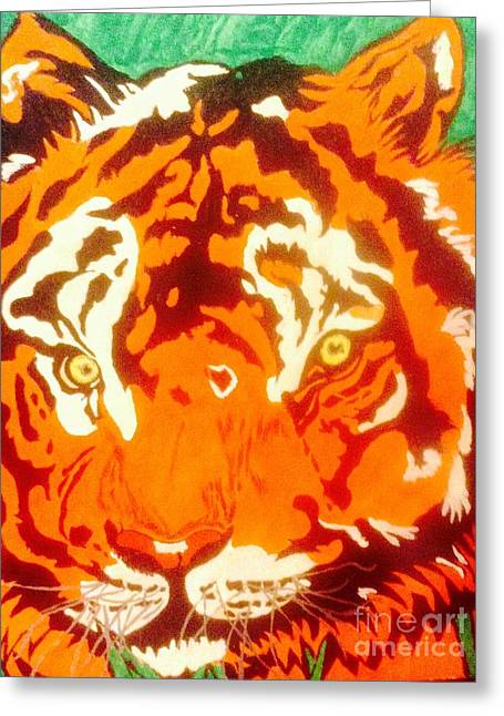 The Tiger Mixed Media Greeting Cards - The Tiger Greeting Card by Franky A HICKS