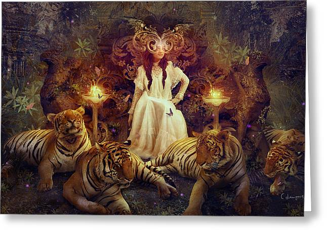 Tigers Digital Greeting Cards - The Tiger Temple Greeting Card by Cassiopeia Art