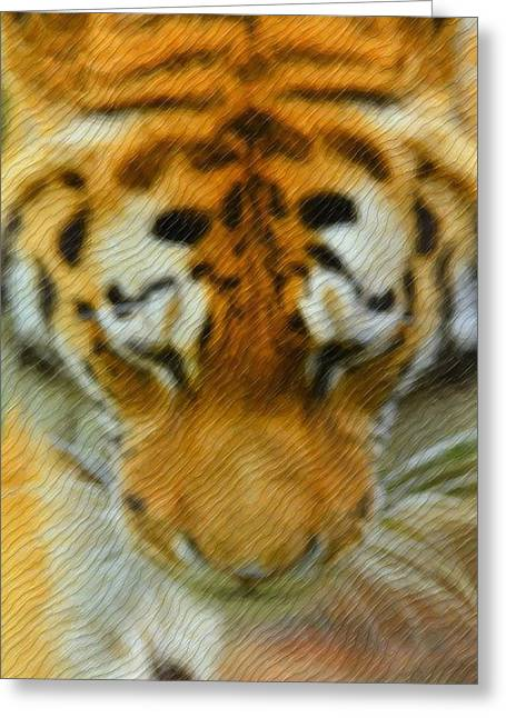 The Tiger Mixed Media Greeting Cards - The Tiger Greeting Card by Toppart Sweden