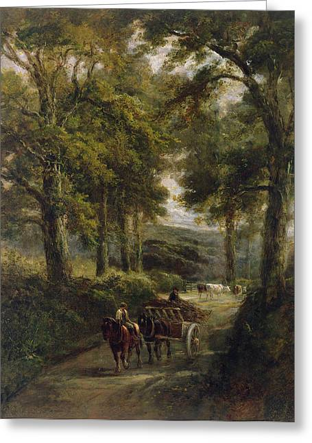 Horse And Cart Photographs Greeting Cards - The Timber Wagon Oil On Canvas Greeting Card by Henry Earp