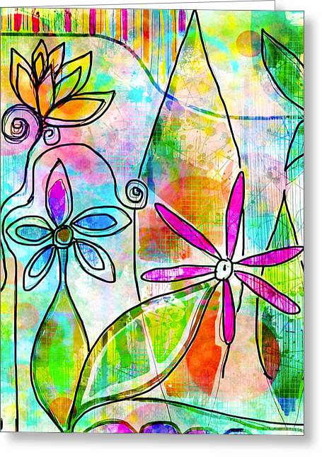 Digital Collage Greeting Cards - The Time to Bloom Greeting Card by Robin Mead