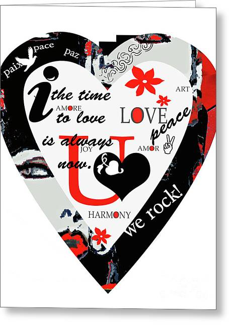 Juvenile Wall Decor Mixed Media Greeting Cards - Modern Typography Heart in Red and Black Greeting Card by ArtyZen Studios - ArtyZen Home