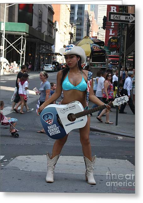 Cowboy Outfit Greeting Cards - The Times Square Naked Cowgirl Greeting Card by John Telfer