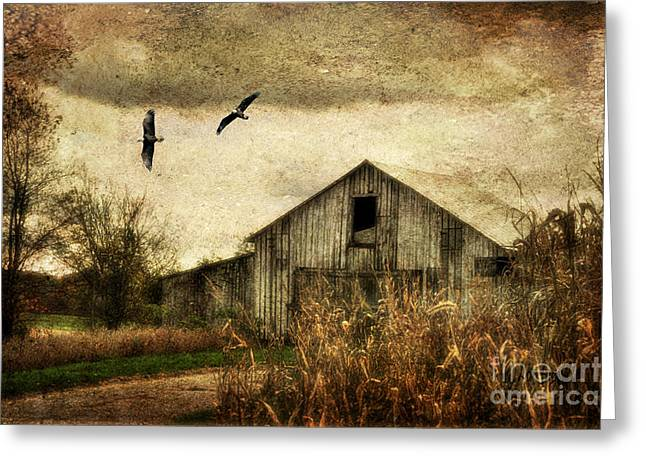 Old Barns Digital Art Greeting Cards - The Times They Are A Changing Greeting Card by Lois Bryan