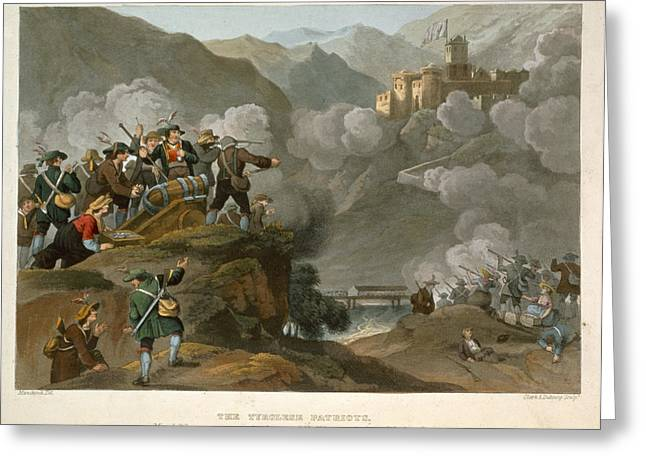 Cannon Drawings Greeting Cards - The Tirolese Patriots Storming Greeting Card by Franz Joseph Manskirch