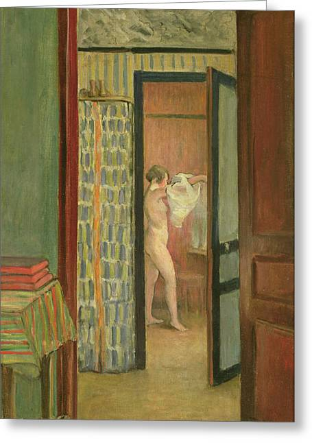 Dressing Room Greeting Cards - The Toilet Greeting Card by Henri Lebasque