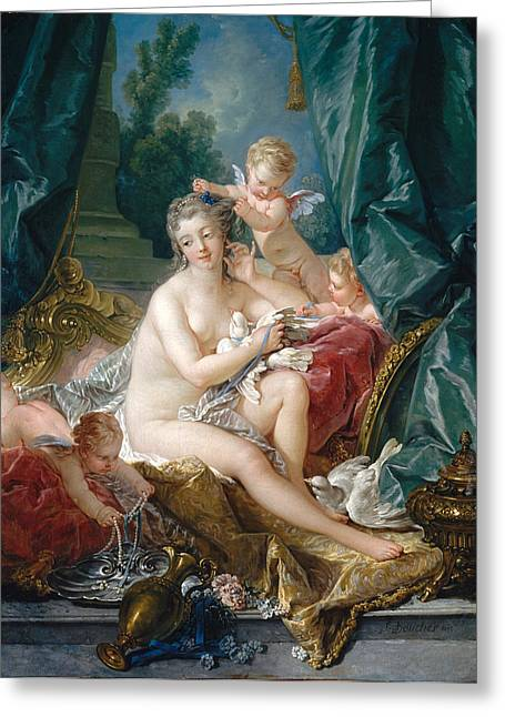 Francois Greeting Cards - The Toilet of Venus Greeting Card by Francois Boucher