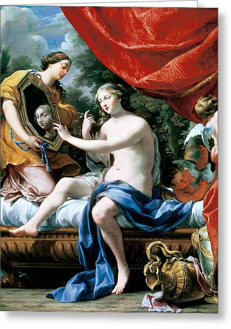 The Toilette Of Venus, 1629 Oil On Canvas Greeting Card by Simon Vouet