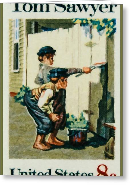 Tom Boy Paintings Greeting Cards - The Tom Sawyer stamp Greeting Card by Lanjee Chee