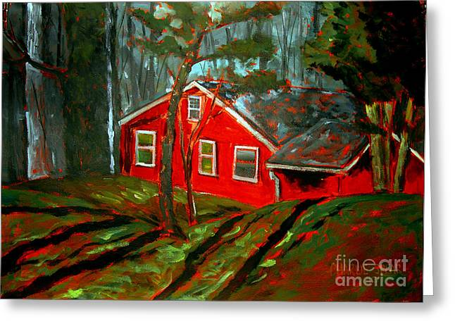 Brushwork Greeting Cards - The Tomato Red House Greeting Card by Charlie Spear