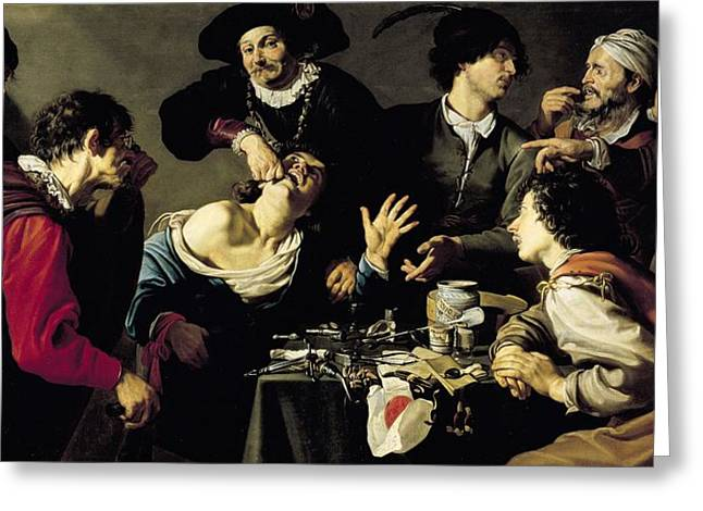Dentistry Greeting Cards - The Tooth Extractor, 1635 Oil On Canvas Greeting Card by Theodor Rombouts