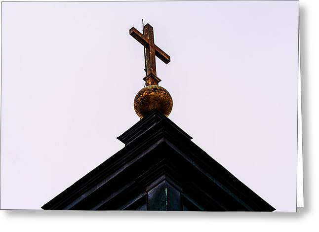 Abandoned House Mixed Media Greeting Cards - The top of a church cross Greeting Card by Toppart Sweden