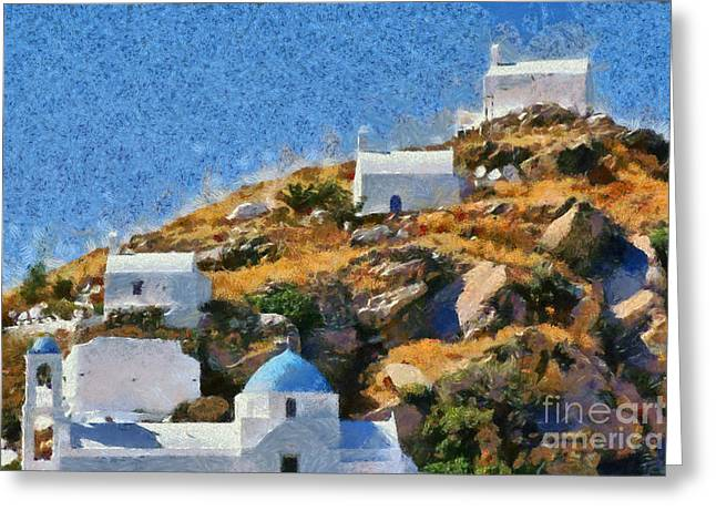 Framed Prints Greeting Cards - The top of Ios town Greeting Card by George Atsametakis