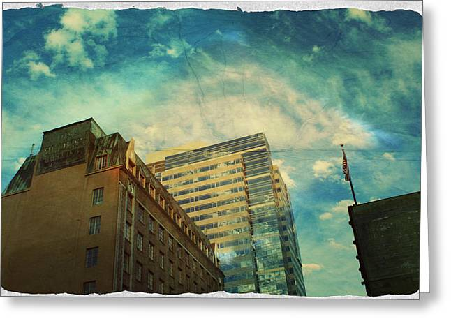 Downtown Portland Greeting Cards - The Tops Greeting Card by Cathie Tyler