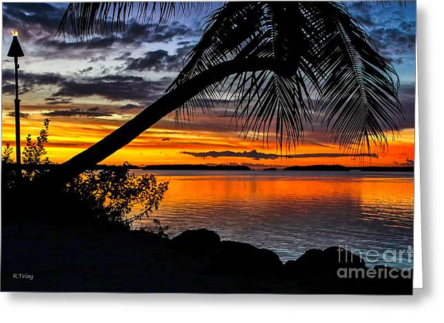 Isla Morada Greeting Cards - The Torch The Island Sunset and The Lone Palm Greeting Card by Rene Triay Photography