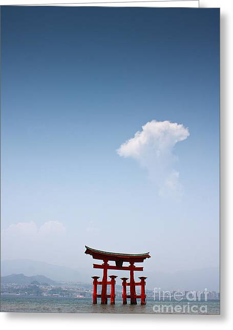 Floating Torii Greeting Cards - The Torii at Noon  Greeting Card by Samantha Frey