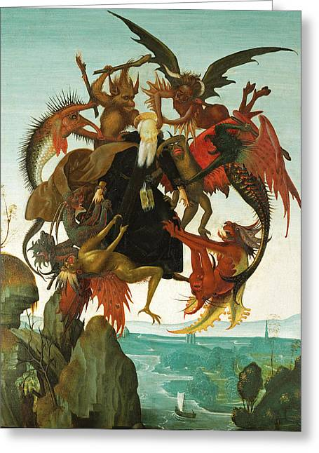 Torment Paintings Greeting Cards - The Torment of Saint Anthony Greeting Card by Michelangelo di Lodovico Buonarroti Simoni