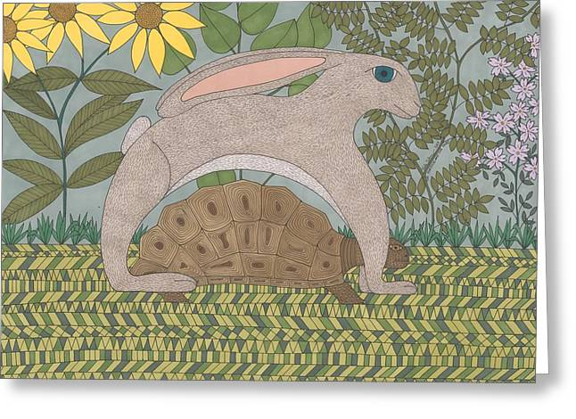 Fabled Drawings Greeting Cards - The Tortoise and the Hare Greeting Card by Pamela Schiermeyer