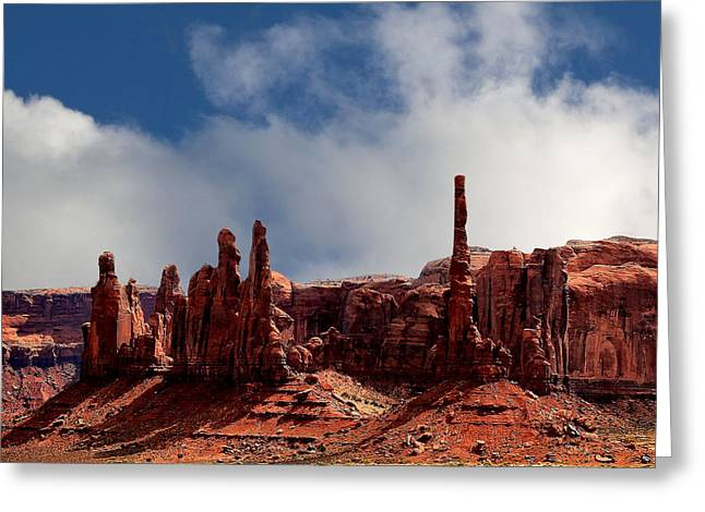 Canvas Framing Greeting Cards - The Totems Monument Valley Greeting Card by Tom Prendergast
